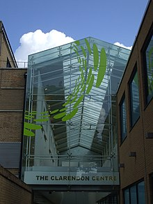 Entrance to a shopping centre, made of glass