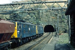 Woodhead line - Image: Class 76 locomotives 76033 and 76031 at Woodhead on 24th March 1981