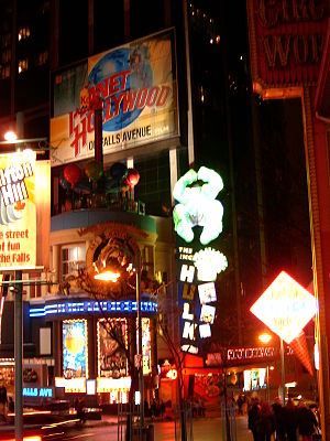 Clifton Hill, Niagara Falls - The corner of Clifton Hill and Falls Avenue at night, 2006. Circus World, Planet Hollywood, and Marvel Superhero Adventure City, pictured, are no longer operating.