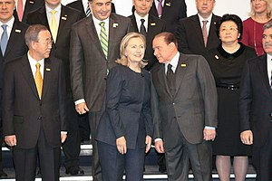 Spying on United Nations leaders by United States diplomats - At this early December 2010 summit in Kazakhstan, US Secretary of State Hillary Clinton (center left) expressed her regrets to UN Secretary General Ban Ki-moon (far left) for the leaked disclosures regarding US diplomats spying on the UN.