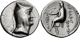 "Parthian Empire - The silver drachma of Arsaces I of Parthia (r. c. 247–211 BC) with the Greek language inscription ΑΡΣΑΚΟΥ ""of Arsaces"""