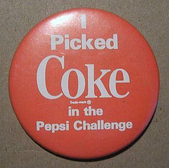 """Pepsi Challenge - A Coca-Cola pinback button, """"I picked Coke in the Pepsi Challenge."""""""