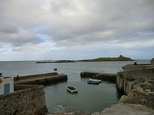 Dalkey - Coliemore Harbour and in the distance Dalkey Island with Martello Tower
