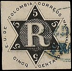 Colombia 1865 ScF1 used in Medellin.jpg