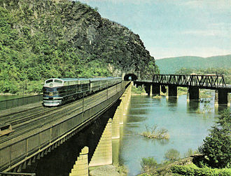 1949 in rail transport - B&O's new Columbian streamlined trainset at Harpers Ferry, West Virginia, in 1949