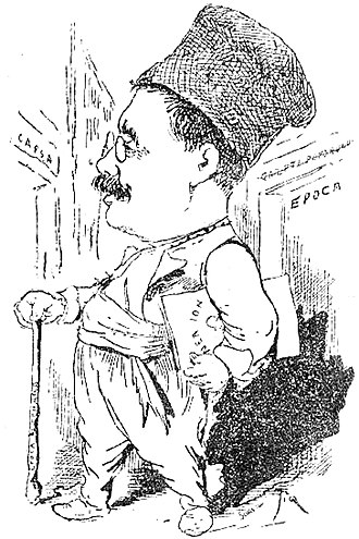 Ion Luca Caragiale - Caragiale as a traveler, parting with Epoca (1890s caricature by Constantin Jiquidi)