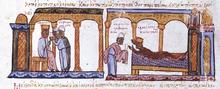Teofano avvelena il suocero, l'imperatore Costantino VII (dalla Cronaca di Skylitze)