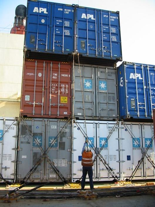 Container lashing with rods