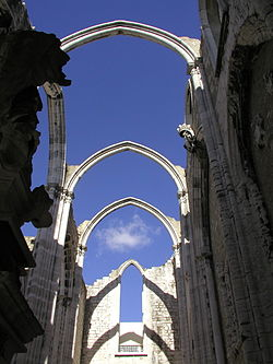 The ruins of the Carmo Convent, which was destroyed in the Lisbon earthquake.