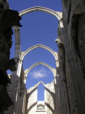 1755 Lisbon earthquake - The ruins of the Carmo Convent, which was destroyed in the Lisbon earthquake.