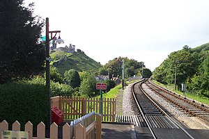 Corfe Castle (village) - The railway line, showing the gap the line must thread between Castle (left) and East (right) hills.