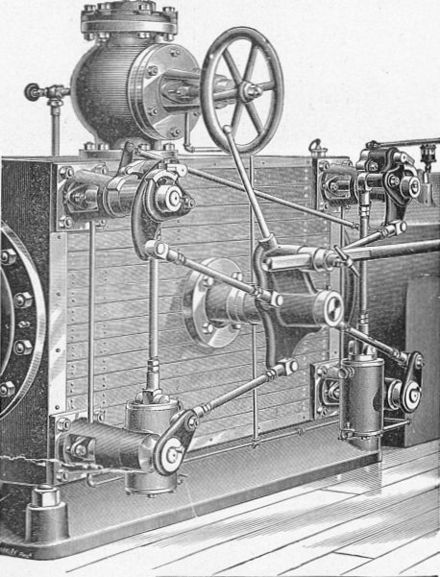 """Gordon's improved Corliss valvegear"", detailed view. The wrist-plate is the central plate from which rods radiate to each of the 4 valves. Corliss valvegear, Gordon's improved (New Catechism of the Steam Engine, 1904).jpg"