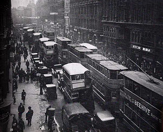 Birmingham Corporation Tramways - Trams and buses on Corporation Street in 1931.