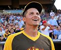 Cory Seager is in awe of Giancarlo Stanton's performance during the T-Mobile -HRDerby. (28470212312).jpg