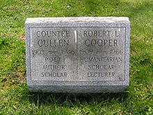 The grave of Countee Cullen in Woodlawn Cemetery