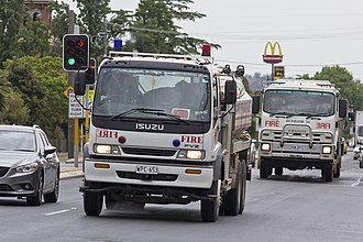 2013 New South Wales bushfires - Country Fire Service passing though Wagga Wagga, en route to the Blue Mountains.