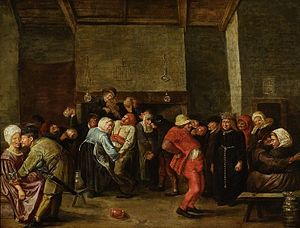 Pitcher (container) - Objects used in a 17th-century painting in the National Museum in Warsaw depicting a wedding in a peasant house are an allusion