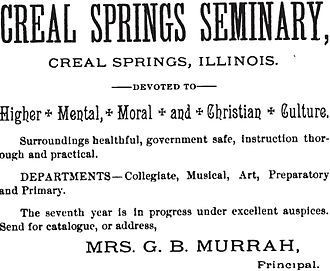 Creal Springs Seminary - Advertisement for the Creal Springs Seminary from 1891