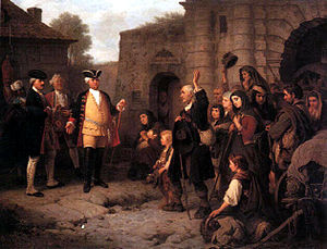 Salzburg Protestants - King Frederick William I of Prussia welcomes the Salzburg Protestants, 19th century painting