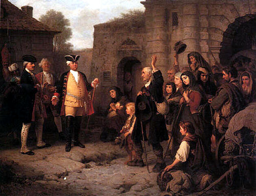 King Frederick William I of Prussia welcoming the expelled Salzburg Protestants CretiusEmpfang.jpg