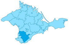 Position of Bakhchisarai on the map of Crimea, Ukraine.