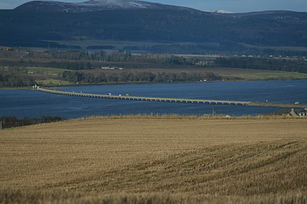 Cromarty Bridge taking A9 across the Firth east of Dingwall