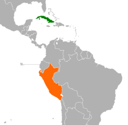 Map indicating location of Cuba and Peru