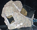 Cubic crystals of pyrite in metamarlstone (Navajun, Spain) 2 (19124542312).jpg