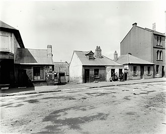Cumberland Street Archaeological Site - Numbers 120-130 Cumberland Street, The Rocks, part of the archaeological site, pictured in October 1901.