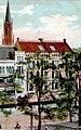 Düsseldorf, Wehling'sche Geschäftsgruppe Königsallee 9 und 11, erbaut von 1901 bis 1902 von den Architekten Gottfried Wehling und Aloys Ludwig, Postkarte von 1909 Vorderseite.jpg