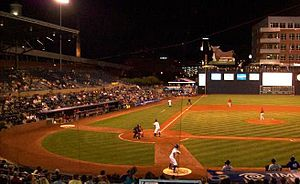 Durham Bulls Athletic Park - Game action at DBAP in 2010