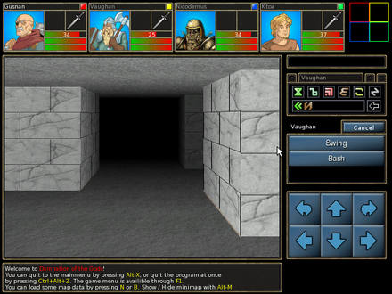 Screenshot of Damnation of Gods, a Dungeon Master clone. All four members of the players's party move around the game world as a single unit in first-person perspective. DOTGv0.31screenshot.png