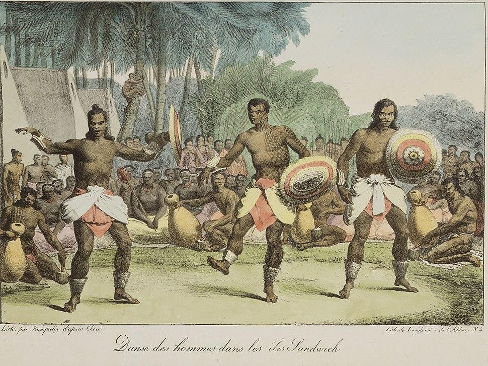 Danse des hommes dans les iles Sandwich (National Library of New Zealand)