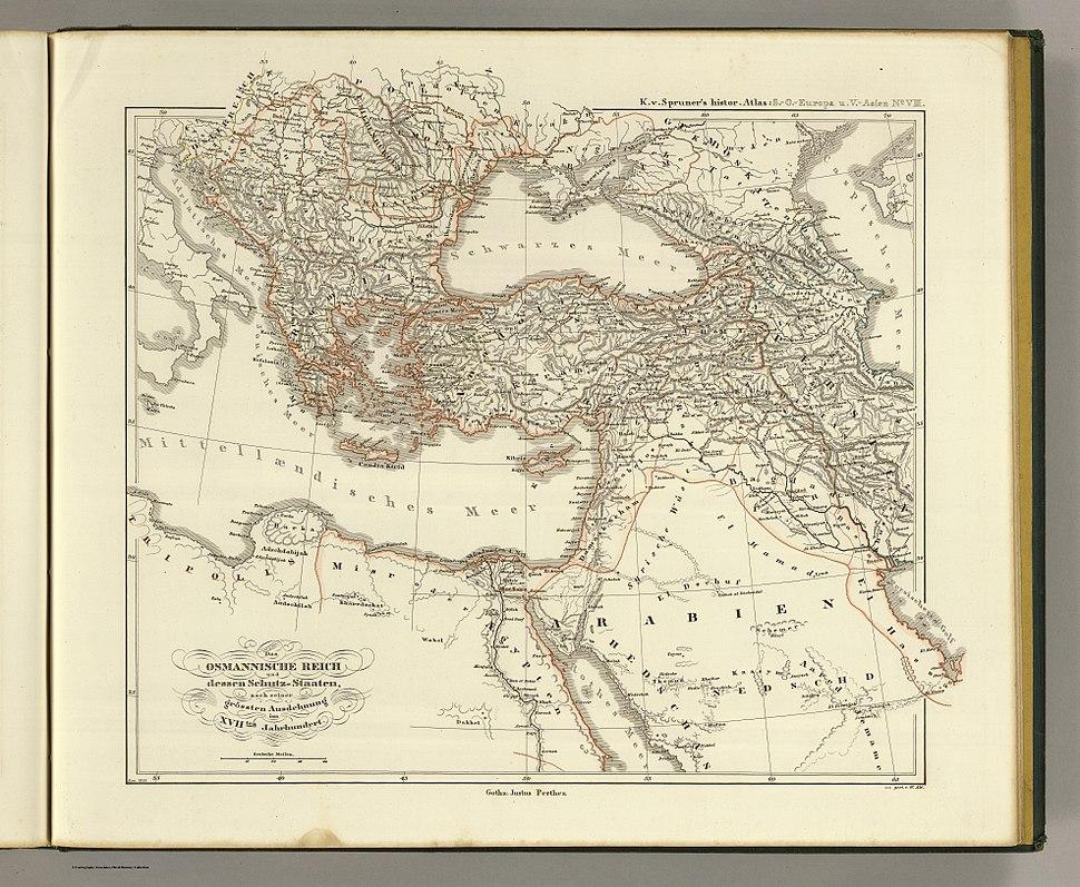 Das osmannische Reich und dessen Schutz-Staaten, nach seiner grossten Ausdehnung im XVIIten Jahrhundert