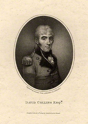 John Thomas Barber Beaumont - Engraving of David Collins by Anthony Cardon, from a miniature by John Thomas Barber.