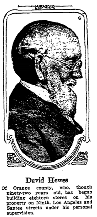 David Hewes - Hewes as portrayed in the Los Angeles Times, August 23, 1913