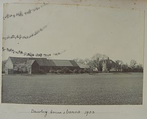 Harlington, London - Photograph of Dawley House and barns, Harlington, 1902. (Between the Great Western Railway and the canal). This was the remains of the house of Bolingbroke and Ossulston. It can be seen to the east or right of the mansion in the print.