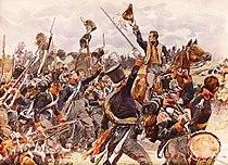 De prins van Oranje aan het hoofd van het vijfde bataljon Nationale Militie bij Quatre Bras, 16 juni 1815.jpg