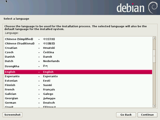 Debian - Graphical version of the Debian Installer
