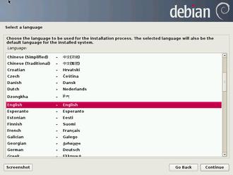 Debian - Graphical version of the Debian Installer