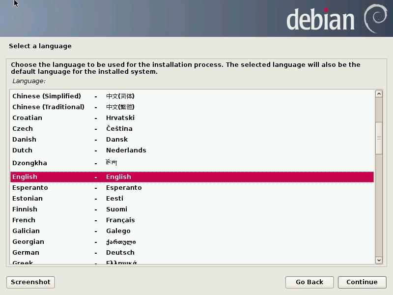 Debian Installer graphical etch