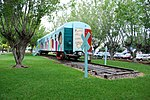 Painted train car at the Casa de Cultura in Colima, Mexico