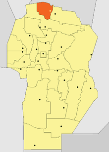 Location o Sobremonte Depairtment in Córdoba Province