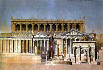 Temple of Castor and Pollux - Image: Depiction of the Forum Romanum (1866)
