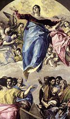 Detalle del lienzo central de la Asunción de la Virgen (1577).