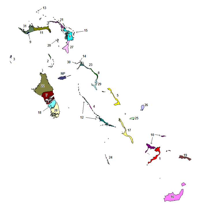 Map of The Bahamas with the districts numbered