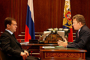 2009 Russia–Ukraine gas dispute - President Medvedev meets with Gazprom CEO Alexei Miller in his office in the Kremlin (July 21, 2008)