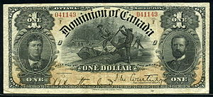 Canadian dollar - $1 Dominion of Canada note issued in 1898.