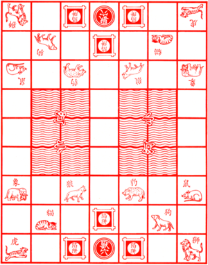 Jungle (board game) - A typical Jungle gameboard showing the location of starting squares, the den, rivers, and traps