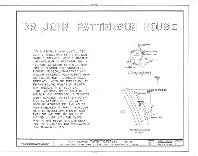 filedr john patterson house northeast ariana estates auburndale polk county fl habs fla